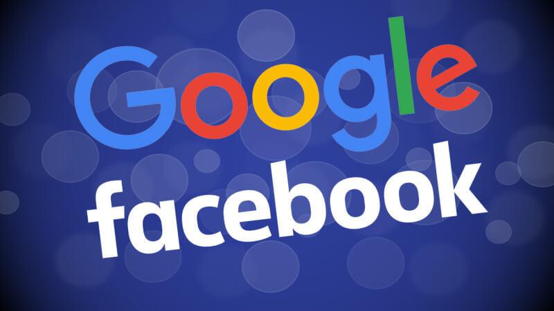 Photo du logo de Google et Facebook.