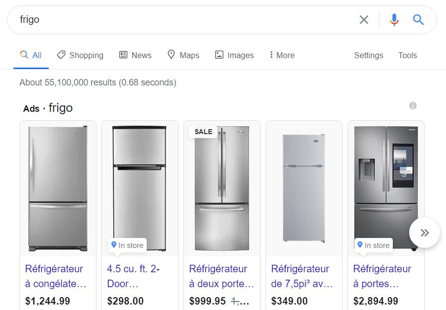 Les publicités que Google propose lorsque l'on recherche « Frigo ».